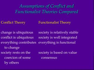 Assumptions of Conflict and  Functionalist Theories Compared