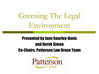 Greening The Legal Environment