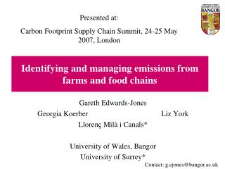 Identifying and managing emissions from farms and food chains