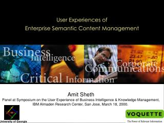 User Experiences of  Enterprise Semantic Content Management