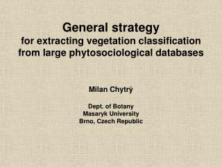 General strategy for extracting vegetation classification from large phytosociological databases
