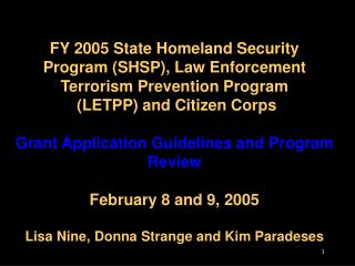 2005 Grant Application Guidelines and Program Review
