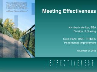 Meeting Effectiveness