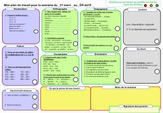 Mon plan de travail pour la semaine du _31 mars _ au  _04 avril  _