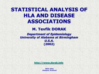STATISTICAL ANALYSIS OF HLA AND DISEASE ASSOCIATIONS