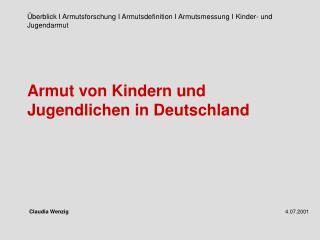 Armut von Kindern und Jugendlichen in Deutschland