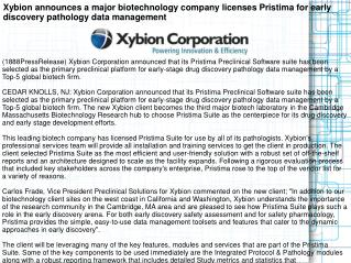 Xybion announces a major biotechnology company licenses Pris
