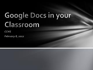 Google Docs in your Classroom