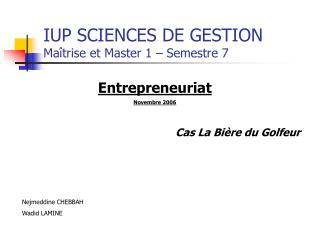 IUP SCIENCES DE GESTION Maîtrise et Master 1 – Semestre 7