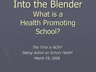 Into the Blender What is a  Health Promoting School?