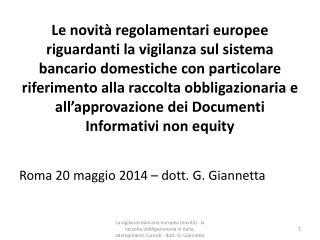 Roma 20 maggio 2014 – dott. G. Giannetta