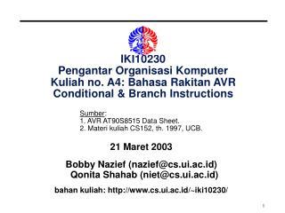 21 Maret 2003 Bobby Nazief (nazief@cs.ui.ac.id) Qonita Shahab (niet@cs.ui.ac.id)