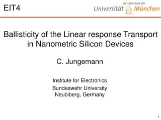 Ballisticity of the Linear response Transport in Nanometric Silicon Devices