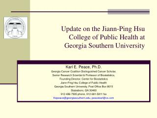 Update on the Jiann-Ping Hsu College of Public Health at Georgia Southern University