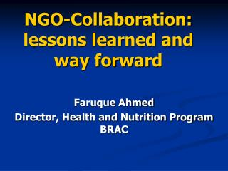 NGO-Collaboration: lessons learned and way forward