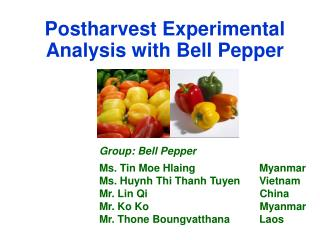 Postharvest Experimental Analysis with Bell Pepper