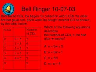 Bell Ringer 10-07-03