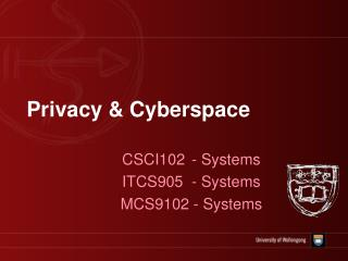 Privacy & Cyberspace
