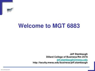 Welcome to MGT 6883