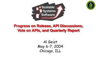 Progress on Release, API Discussions, Vote on APIs, and Quarterly Report