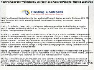 Hosting Controller Validated by Microsoft as a Control Panel