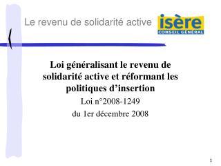 Loi généralisant le revenu de solidarité active et réformant les politiques d'insertion