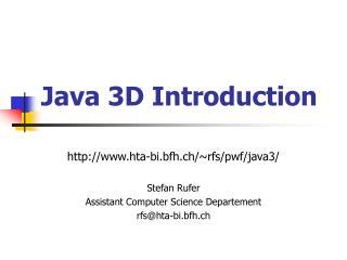 Java 3D Introduction