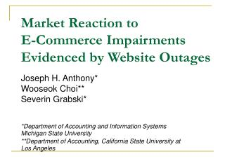 Market Reaction to  E-Commerce Impairments Evidenced by Website Outages