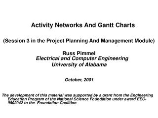 Activity Networks And Gantt Charts (Session 3 in the Project Planning And Management Module)