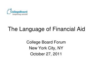 The Language of Financial Aid
