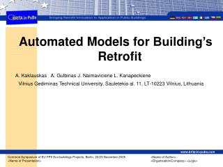 Automated Models for  Building's Re trofit