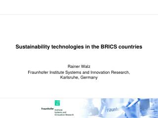 Sustainability technologies in the BRICS countries