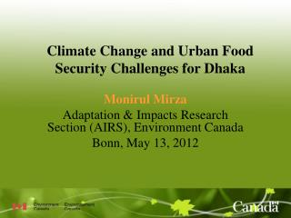 Climate Change and Urban Food Security Challenges for Dhaka