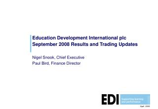 Education Development International plc September 2008 Results and Trading Updates