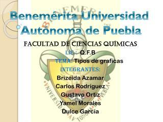 Facultad de ciencias Químicas     Lic.:   Q.F.B             TEMA:  Tipos de graficas INTEGRANTES: