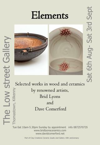 Elements Selected works in wood and ceramics by renowned artists,  Brid Lyons  and  Dave Comerford