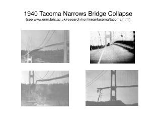 1940 Tacoma Narrows Bridge Collapse (see enm.bris.ac.uk/research/nonlinear/tacoma/tacoma.html)