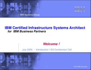 IBM Certified Infrastructure Systems Architect	 for  IBM Business Partners