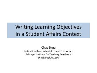 Writing Learning Objectives in a Student Affairs Context