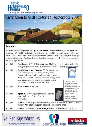 Invitasjon til Østfold-tur 15. september 2005