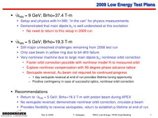 2009 Low Energy Test Plans