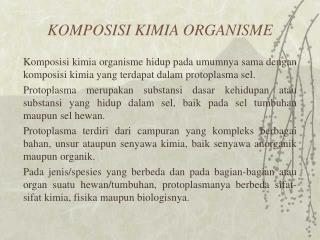 KOMPOSISI KIMIA ORGANISME