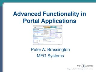 Advanced Functionality in Portal Applications