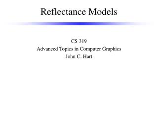 Reflectance Models