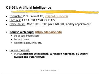 CS 561: Artificial Intelligence