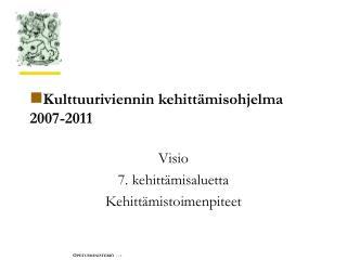 Kulttuuriviennin kehittämisohjelma 2007-2011