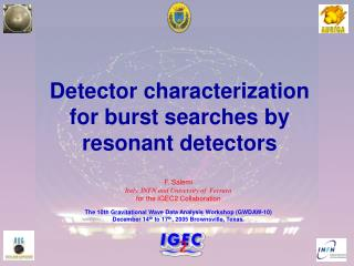 Detector characterization for burst searches by resonant detectors