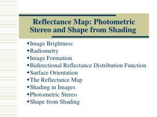 Reflectance Map: Photometric Stereo and Shape from Shading