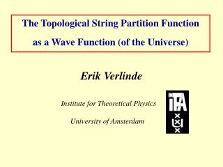 The Topological String Partition Function  as a Wave Function (of the Universe)