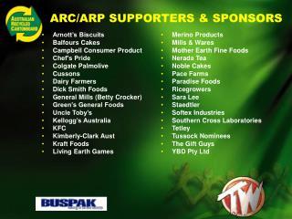 ARC/ARP SUPPORTERS & SPONSORS